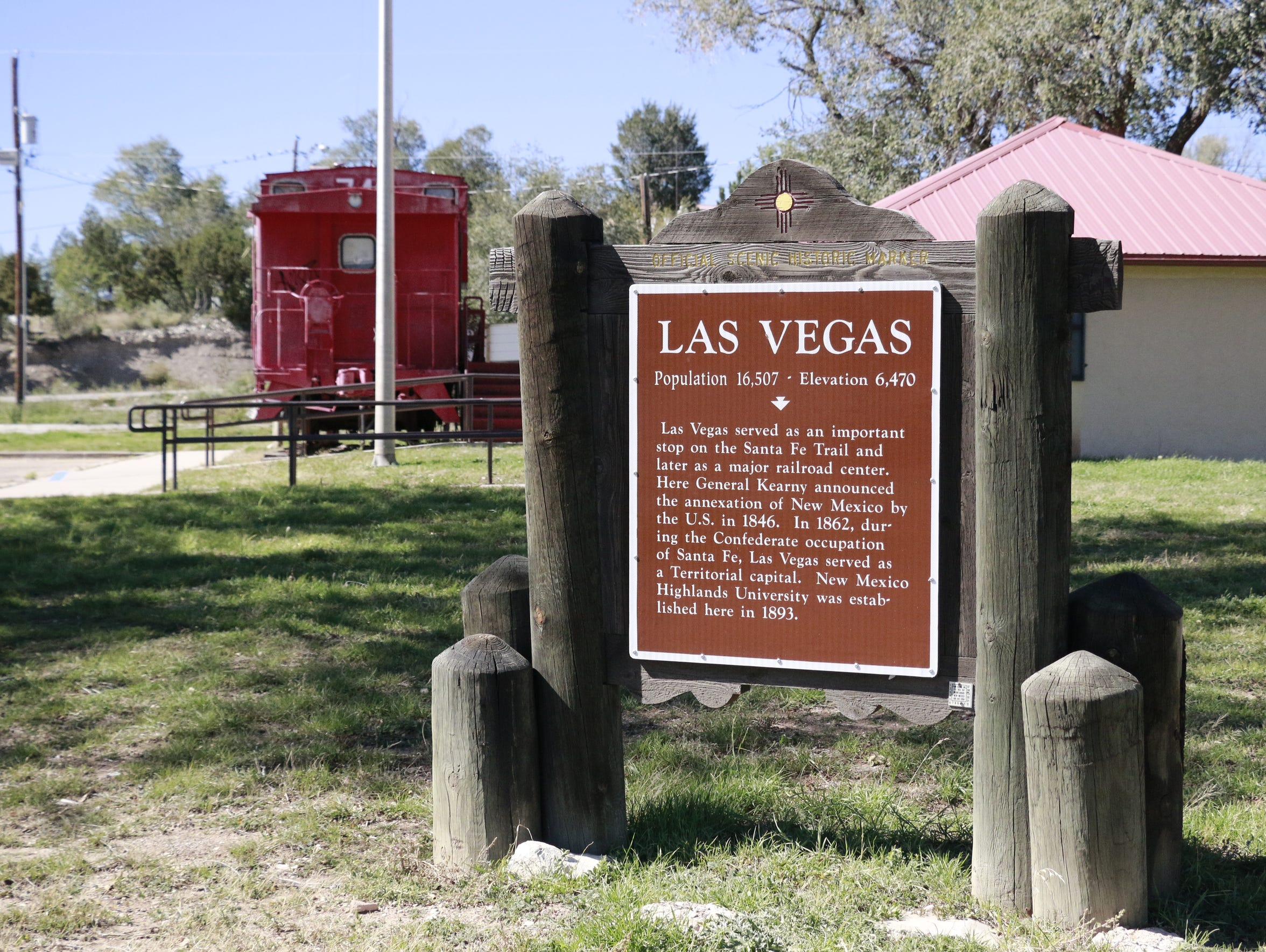 A historical marker stands in Las Vegas, New Mexico,