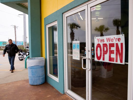 BeachMart, a tourist shop at 574 Access Road 1-A in Port Aransas, was the first tourist shop to open following Hurricane Harvey. Other tourist shops are following suit, however by spring break about 50-60 percent of retail businesses will have reopened, according to Jeffrey Hentz, president and CEO of Port Aransas chamber, tourism bureau.