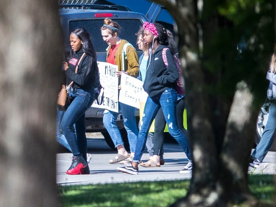 West High School students walk out as part of the national