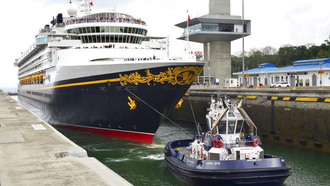 Disney Cruise Line's Disney Wonder on April 29, 2017 became the first cruise ship to transit the Panama Canal's new, bigger locks.