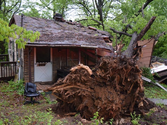 A tree fell into a bedroom of a West Knoxville home