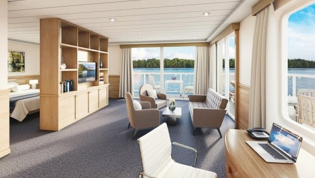 Rendering of interior of new ships American Cruise Lines intends to introduce on Mississippi River this fall.