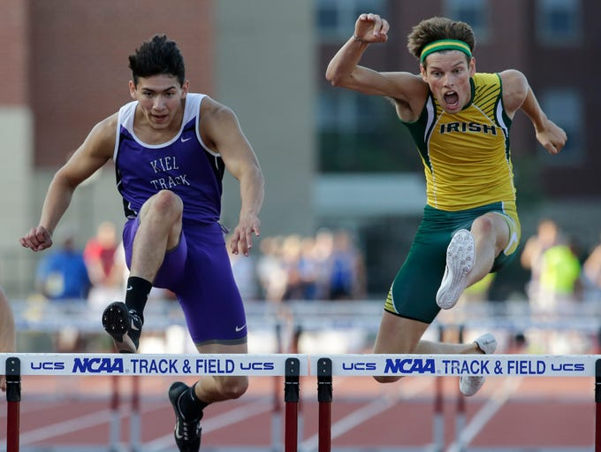 Kiel's Elio Alzate and Freedom's Luke Pingel hurdle