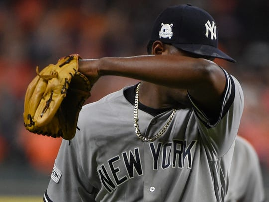 New York Yankees starting pitcher Luis Severino leaves the game during the fifth inning of Game 6 of baseball's American League Championship Series against the Houston Astros Friday, Oct. 20, 2017, in Houston.