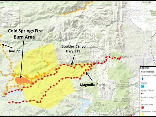 Cold Springs Fire evacuation area