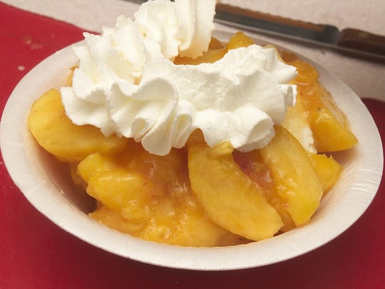 Freshly sliced Jersey peaches with more than a dollop