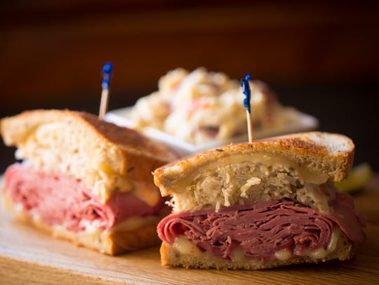 """The Farmstand Market & Cafe in Union, Ky.'s most popular """"farmwhich"""" is the Reuben, which is thinly sliced corned beef with homemade thousand island dressing, sauerkraut and swiss, grilled on rye."""