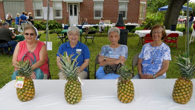 Front row seats for the pineapple planting presentation for Barbara Folkins, IRCHS Ruth Standridge, Susan Heath and Maria Fontaine were looking forward to learning how to grow their own pineapples.