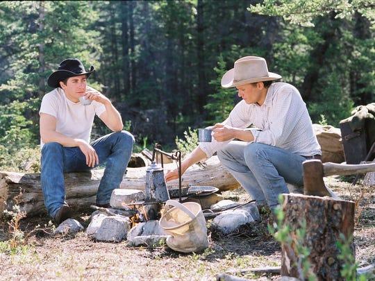 Jake Gyllenhaal, left, and Heath Ledger in a scene