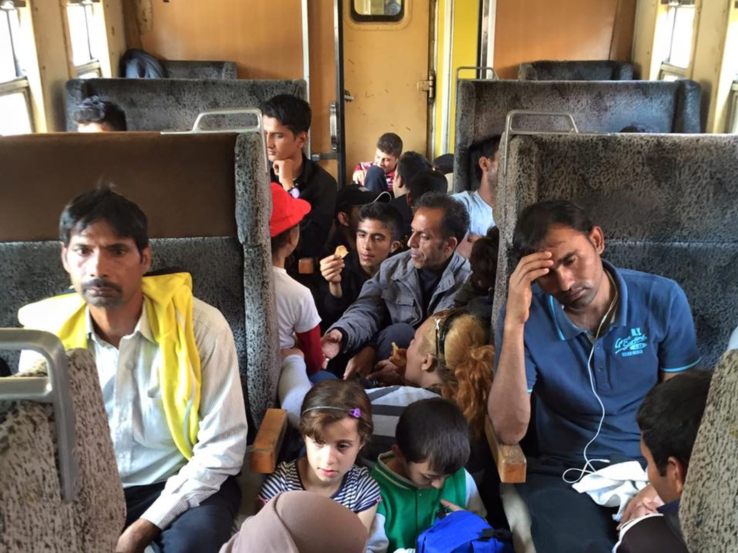 Migrants and refugees crammed on a train to Serbia on Sept. 21, 2015.