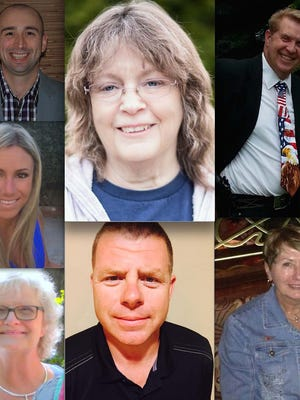 Clockwise, from top left: Matthew Counts, Lois Kanniainen, Howard Melton, Alice Miller, Dar Howard, Carolyn Eaton and Elizabeth Meyer Dean.
