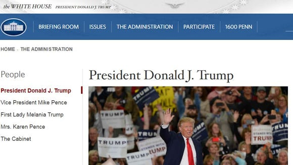 Screenshot of www.whitehouse.gov shortly after noon