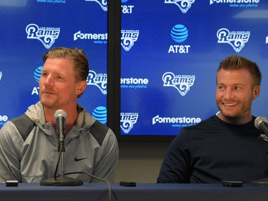 Rams general manager Les Snead, left, and coach Sean McVay discus the upcoming NFL Draft during a news conference Tuesday at Cal Lutheran University.