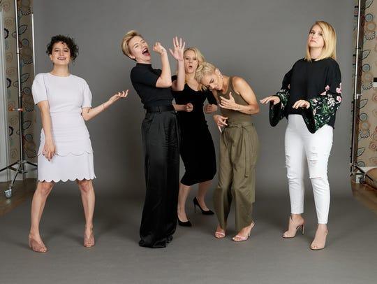 Ilana Glazer, left, Scarlett Johansson, Kate McKinnon,