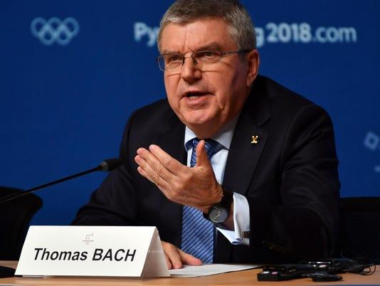 USP OLYMPICS: IOC PRESIDENT THOMAS BACH PRESS CONF S OLY KOR [E