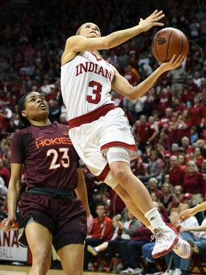 Indiana Hoosiers guard Tyra Buss (3) goes to the basket against Virginia Tech at Simon Skjodt Assembly Hall in Bloomington, Ind., on Saturday, March 31, 2018.