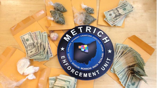 Narcotics and cash seized by MARMET Detectives Tuesday. The MARMET Drug Task Force is part of the METRICH regional task force.