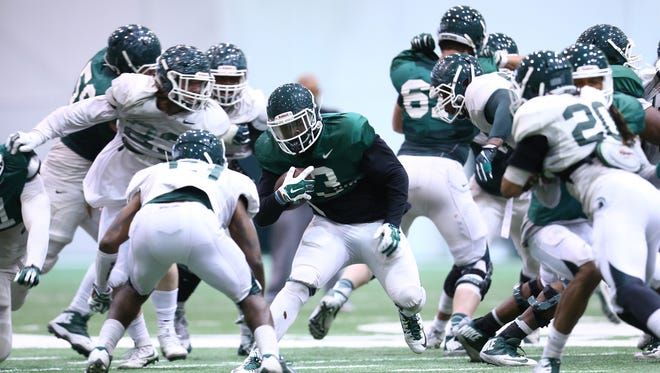 MSU's defense beat the offense in the Spartans' first spring scrimmage Saturday, April 8.