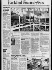"""Mall cements county's future"" reads the headline in"
