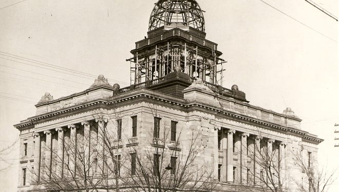 The Manitowoc County Courthouse under construction circa 1906.