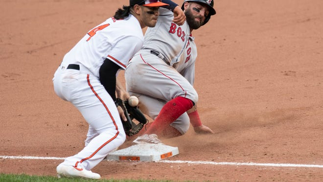 Red Sox base runner Kevin Pillar, right, slides under Baltimore Orioles third baseman Rio Ruiz to steal third during the sixth inning Sunday in Baltimore.