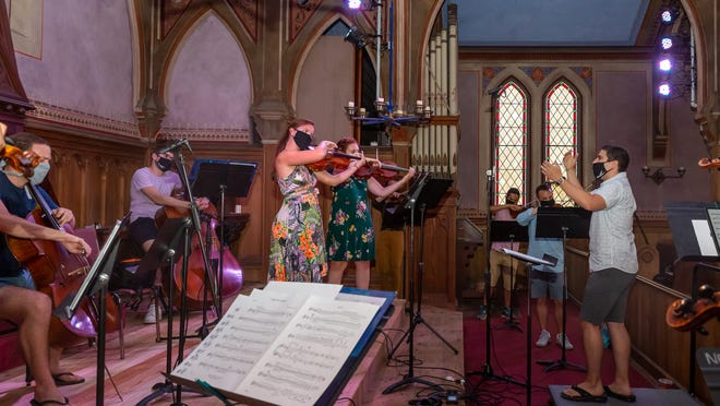 Members of the Cape Cod Chamber Orchestra, with Matt Scinto conducting, record a distanced concert that will be available virtually as of Friday.