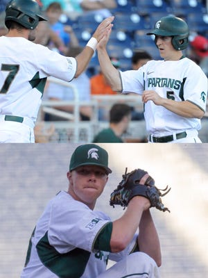 MSU infielder Jordan Zimmerman (5) and pitcher Cam Vieaux, bottom, were selected in the MLB draft on Friday. The Pirates took Vieaux in the sixth round, while the Angels took Zimmerman in the seventh round.