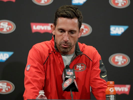 FILE - In this Oct. 22, 2017, file photo, San Francisco 49ers head coach Kyle Shanahan speaks at a news conference after a 40-10 loss to the Dallas Cowboys in an NFL football game, in Santa Clara, Calif. The 49ers are still searching for their first wiin under coach Shanahan. (AP Photo/Marcio Jose Sanchez, File)