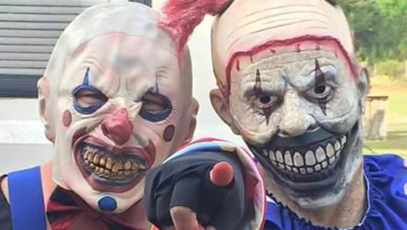 Creepy clowns get ready to scare some folks at the