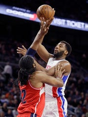 Detroit Pistons center Andre Drummond shoots over Washington