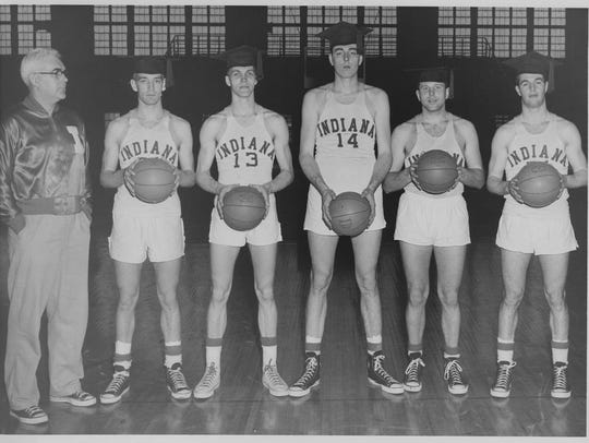 Seniors of the 1953-1954 IU basketball team taken early