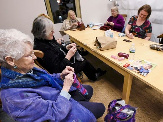 Knitters meet for a weekly klatch at Must Love Yarn in Shelburne on Wednesday, November 29, 2017.
