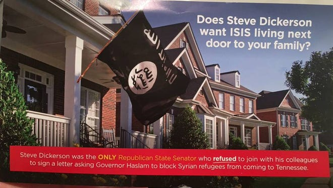 One side of an attack ad evoking ISIS that Republican Senate candidate Ron McDow has released against incumbent Sen. Steve Dickerson