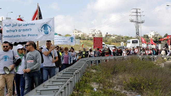 An Israeli-Palestinian Freedom March near the West Bank city of Bethlehem on March 4, 2016.