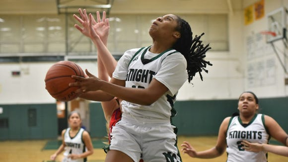 New Milford's Bionca Chambers scored 15 points to help the No. 20 Knights defeat No. 13 Paramus Catholic, 43-35.