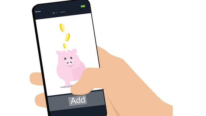Mobile banking , human hand holding a phone and fills his piggy bank . Vector