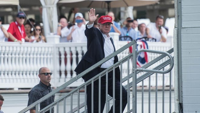 President Donald Trump attends the 72nd U.S. Women's Open at Trump National Golf Club in Bedminster.