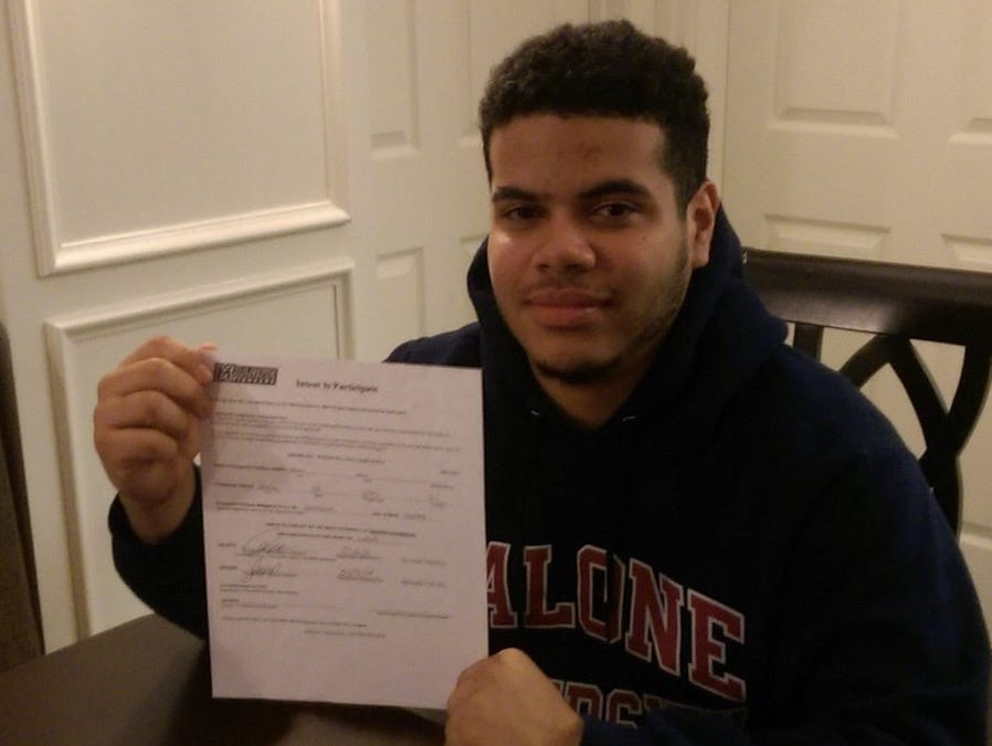 Spackenkill High School senior Andres Blanco signed a National Letter of Intent to play football at Malone University.