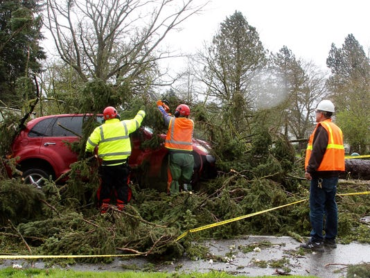 Oregon State Hospital staff clear road of fallen tree