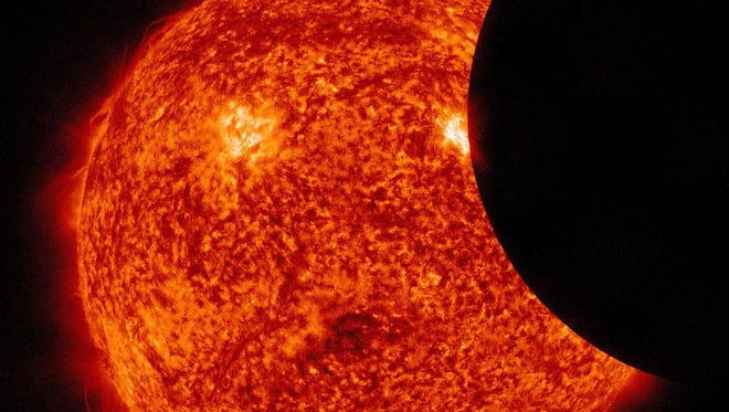 A solar eclipse captured by the Solar Dynamics Observatory. A total solar eclipse will happen Aug. 21, 2017.