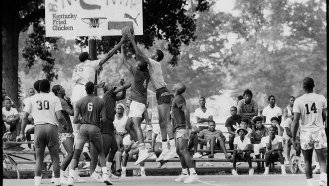 Bruce's Bunch and the Grand Street Boys faced off at the Dirt Bowl Classic, in Shawnee Park.  July 23, 1986