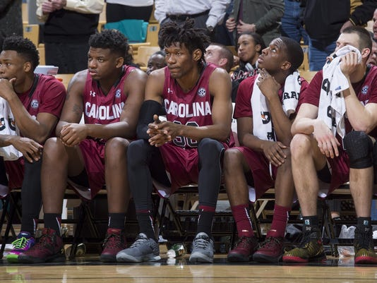 South Carolina players watch the game from the bench late during the second half of an NCAA college basketball game against Missouri, Tuesday, Feb. 16, 2016, in Columbia, Mo. Missouri won the game 72-67. (AP Photo/L.G. Patterson)