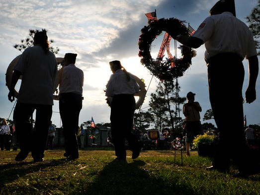 A wreath laying ceremony was held during the Vietnam and All Veterans Reunion at Wickham Park in Melbourne on Monday, April 28, 2014.