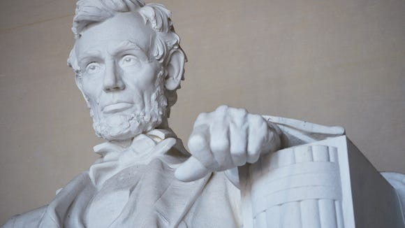 The statue of Abraham Lincoln by artist Daniel Chester French at the Lincoln Memorial.