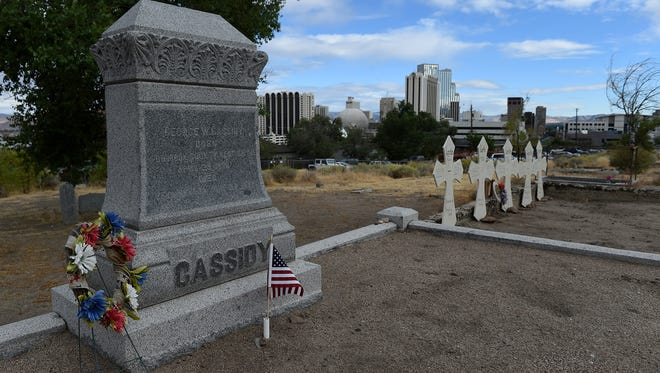 The Cassidy gravesite is seen at Hillside Cemetery in Reno on Sept. 23.