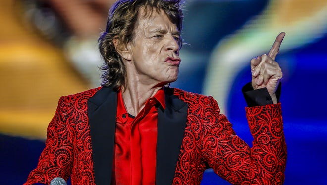 Mick Jagger of the Rolling Stones performs at the Indianapolis Motor Speedway on July 4, 2015 in Indianapolis, Indiana.
