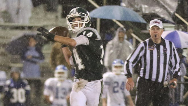 Greenbrier's Andrew Cline throws the football during the Bobcats' 21-0 loss to White House on Friday.
