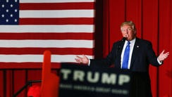 Donald Trump speaks at a fundraising event in Lawrenceville,