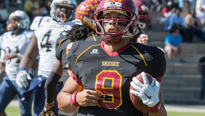 Tuskegee wide receiver Desmond Reece, shown in a game last year, caught the go-ahead touchdown pass in Saturday's win over Florida A&M.