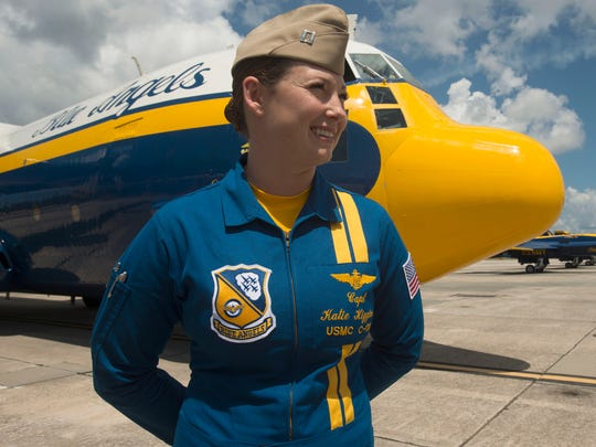 U.S. Marine Corps Capt. Katie Higgins talks about her experiences flying Fat Albert and being a member of the Blue Angels during a press conference Thursday morning.